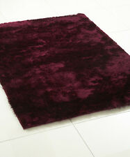 WHISPER THICK SILKY SOFT POLYESTER SHAGGY RUG  PURPLE VARIOUS SIZES