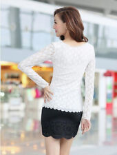 Ladies O-neck Fashion Blouse Women Top Lace  T-Shirt Stretch Casual Long Sleeve