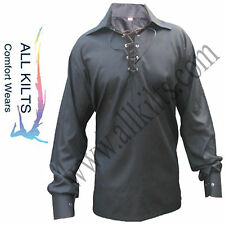 Men's Scottish Black Jacobite Ghillie Kilt Shirt Thin Cotton Fablic