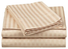 1000TC Egyptian Cotton 1pc  FLAT SHEET Sateen Taupe Stripe