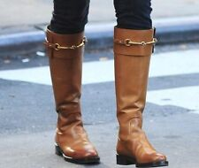 GUCCI JAMIE BROWN GOLD HORSEBIT TALL ZIPPER RIDING BOOTS EU 37.5 38 38.5