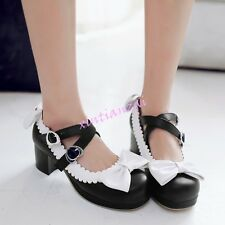 Womens Sweet Candy Lolita Bowtie Ankle Strap Block Heels Classic Mary Jane Shoes