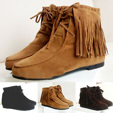 2016 Spring  Women Tassel Shoes Faux Suede Feather Ankle Flat Women Boots