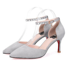New Womens Pointed-toe High Heels Stilettos Ankle Strap Sandals Suede Work Shoes