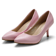 Simple High Heels Pointed-toe Stilettos Womens Pumps PU Leather Work Court Shoes
