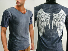 FREE SHIPPING MEN STRIPED ANgel WINGS short sleeve V NEck t-shirt top size S M