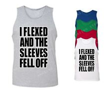 I Flexed And Sleeves Fell Off Men's Tank Top Funny Gym tops cool gym clothing