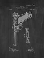 Luger Recoil Loading Small Arms Patent Print Chalkboard