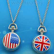 Silver American/UK Flag Quartz Pocket Watches Necklace Pendant Men Women's Gifts