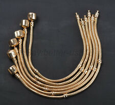 5,10,20pcs Gold Snake Chain Charms Bracelets Plain Clasp Fit European Beads