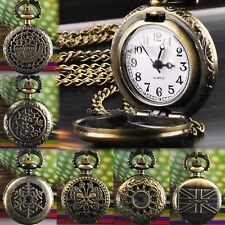 Bronze Steampunk New Quartz Necklace Pendant 6 Types Chain Clock Pocket Watch