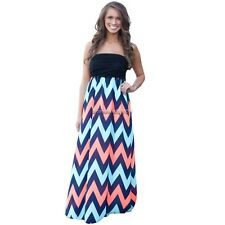 Women's Strapless Evening Party Long Maxi Beach Dress Casual Striped NC89