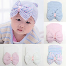 Cute Newborn Babys Infant Girl Toddler Comfy Bowknot Hospital Cap Beanie Hat New