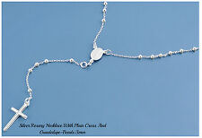 Sterling Silver 925 ROSARY NECKLACE MADE IN ITALY 3MM-LENGTH-18,20,22,24,26 &30""