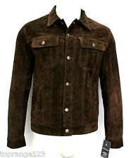 TRACKER MENS,FASHION DESIGNER STYLE BROWN SUEDE SOFT LEATHER SHIRT JACKET