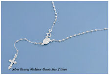 Sterling Silver 925 ROSARY NECKLACE MADE IN ITALY 2.5MM-L-16,18,20,24,26,28 &30""