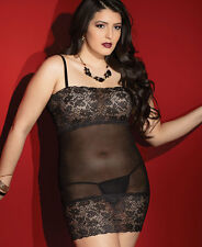 Black Plus Size Mesh And Lace Bust Chemise - Coquette 2413X