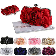 New Women Satin Rhinestone Handbag Wedding Party Flower Clutch Purse Evening Bag