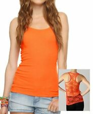 Neon Orange Full Lace Racerback Stretch Ribbed Solid Tank Top Cami Tee Shirt