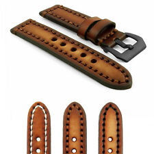 StrapsCo Vintage Watch band in Brown / Contrast Stitching / Black Pre-V Buckle