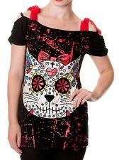BANNED Sugar Skull Kitty Cat Top Off Shoulder Tunic dress T-Shirt Goth Punk Rock