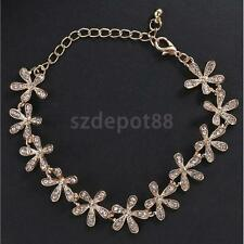 Fashion Crystal Snowflake Charm Chain Bangle Bracelet Gift for Women-Gold/Silver
