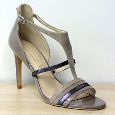 New M&S AUTOGRAPH Patent & Suede LEATHER High Heel SANDALS ~ Size 5.5 ~ TAUPE