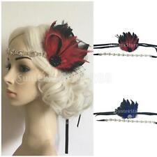 VINTAGE 1920S DIAMANTE FEATHER GREAT GATSBY HEAD CHAIN HEADBAND WEDDING PARTY
