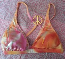MINT Womens Guess Swim top pink gold silver orange peace signs cute size S
