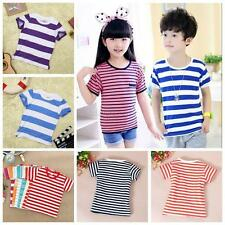 Toddler Kids Baby Girls Boys Short Sleeve Stripe Cotton T-shirt Tops Shirt 2-6T