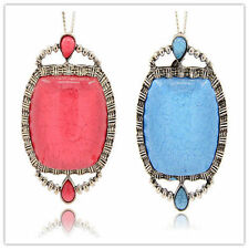 2pcs Antique Silver Alloy Resin Pendants Oval Crystal Rhinestone Necklace Making
