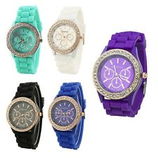 Fashion Ladies Girls Golden Crystal Stone Silicone Jelly Quartz Wrist Watch