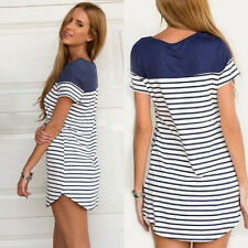 New Women Ladies Stylish Stripe Short Sleeve Top Loose Blouse T-shirt Mini Dress
