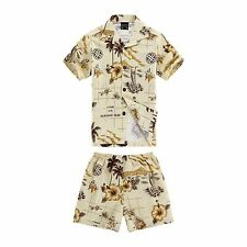 Boy Toddler Aloha Shirt Set Shorts Beach Hawaiian Cruise Luau Cotton Yellow Map