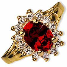 Garnet Cocktail Ring Red Oval Cut Cubic Zirconia Yellow Gold Plated r209g