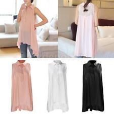 Women Collared Sleeveless Button Down Shirts Lace Summer Charming Blouse Tops