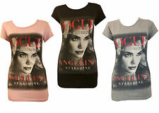 NEW LADIES WOMENS VOGUE FACE PRINT TURN UP SLEEVE TOPS T SHIRT PARTY TOP 8-14