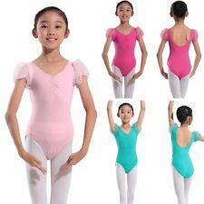 Kids Girls Gymnastics Leotards Stretchy Dance Sports Short Sleeve Tops Clothes