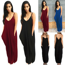 Women Boho Spaghetti Strap V-Neck Sleeveless Beach Evening Party Long Maxi Dress