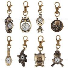 Mini Vintage Bronze Tone Key Ring Pocket Quartz Pendant Kids Boys Watch Gift