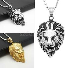 Stainless Steel Biker Jewelry Boy Mens Lion Pendant Necklace Silver Gold Tone