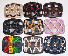 Double Magic Hair Combs, Stretchy Wood Bead Clips, MultiColor Beads, S10