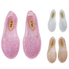 Women Hollow Out Jelly Shoes Breathable Glitter Ballet Flats Heel Beach Sandals