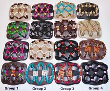 Double Magic Hair Combs, African Style Butterfly Clips, MultiColor Beads, SD