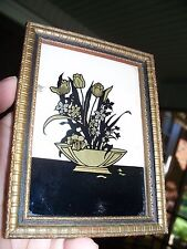 VTG Wood Framed BUTTERFLY WING EFFECTS Hand-Processed Floral Display on Glass