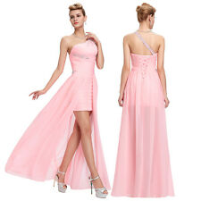 One Shoulder Chiffon Womens  Evening Prom Party Dress 8 Size Ball Gown high-low