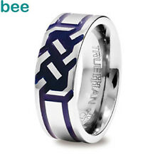 Engraved Blue inlay Tungsten Band Trueman Carbide Mens Ring Size 8.25-13.25