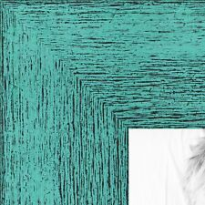 ArtToFrames 1.5 Inch Aqua Rustic Wood Picture Poster Frame 83235