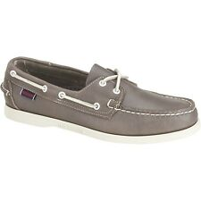 Mens Sebago Grey Leather Docksides® Slip On Boat Shoes B720161 Size 7-13 (D, M)