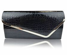 High Gloss Crocodile Effect Print Patent Leather Clutch Bag Evening Handbag